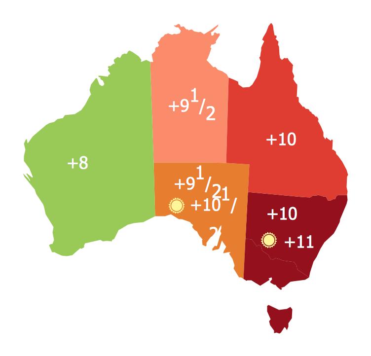 Continents Map - Australia States Timezones