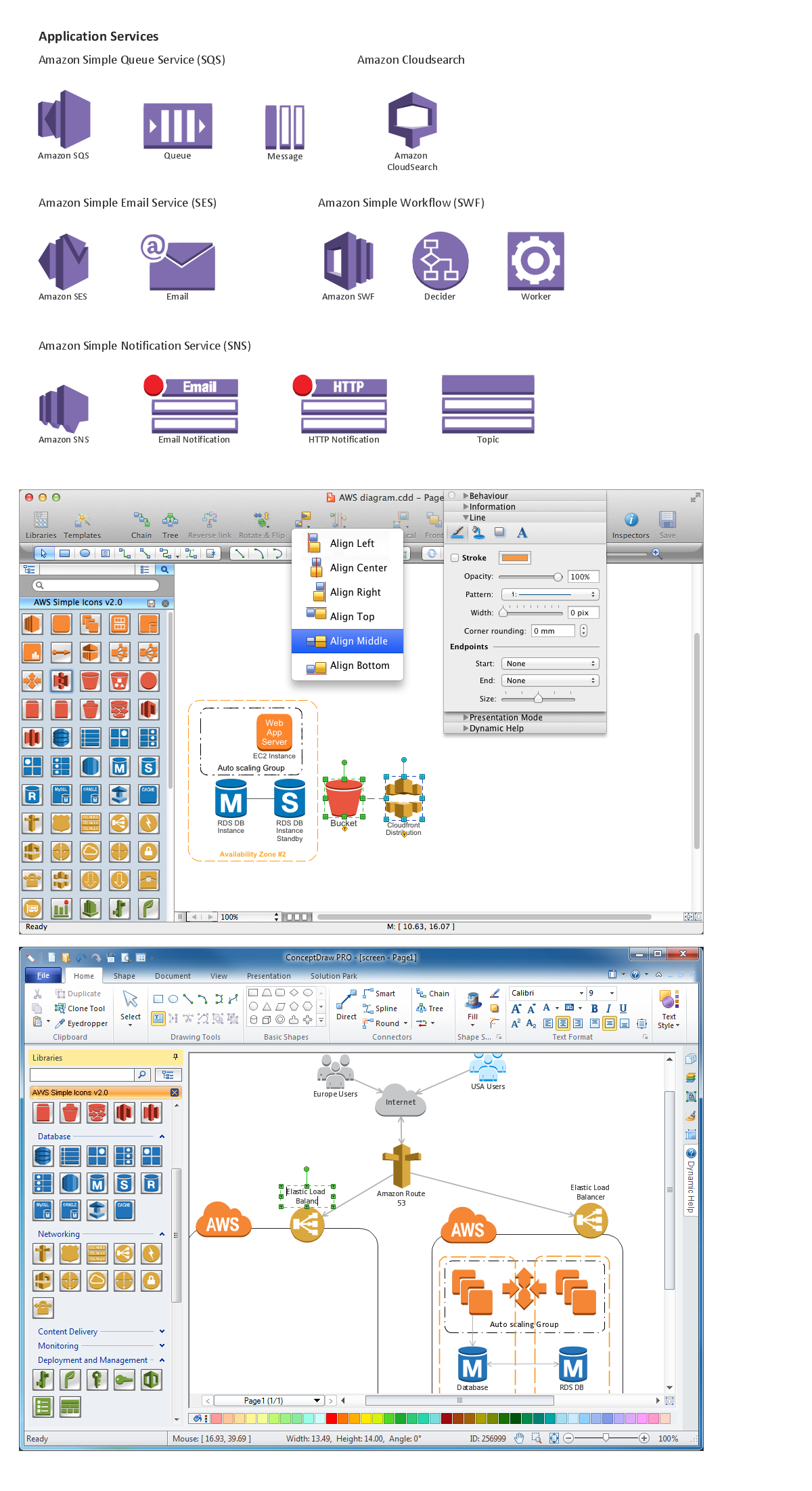 Diagramming software for Amazon Web Service <br>icon set: Application Services *