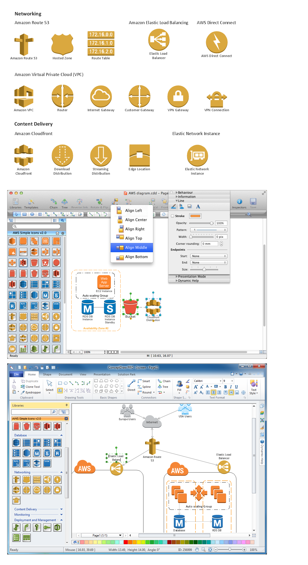 Amazon-Web-Services-AWS-Design-Elements-icons-Networking-and-ContentDelivery using conceptdraw solution park web tool
