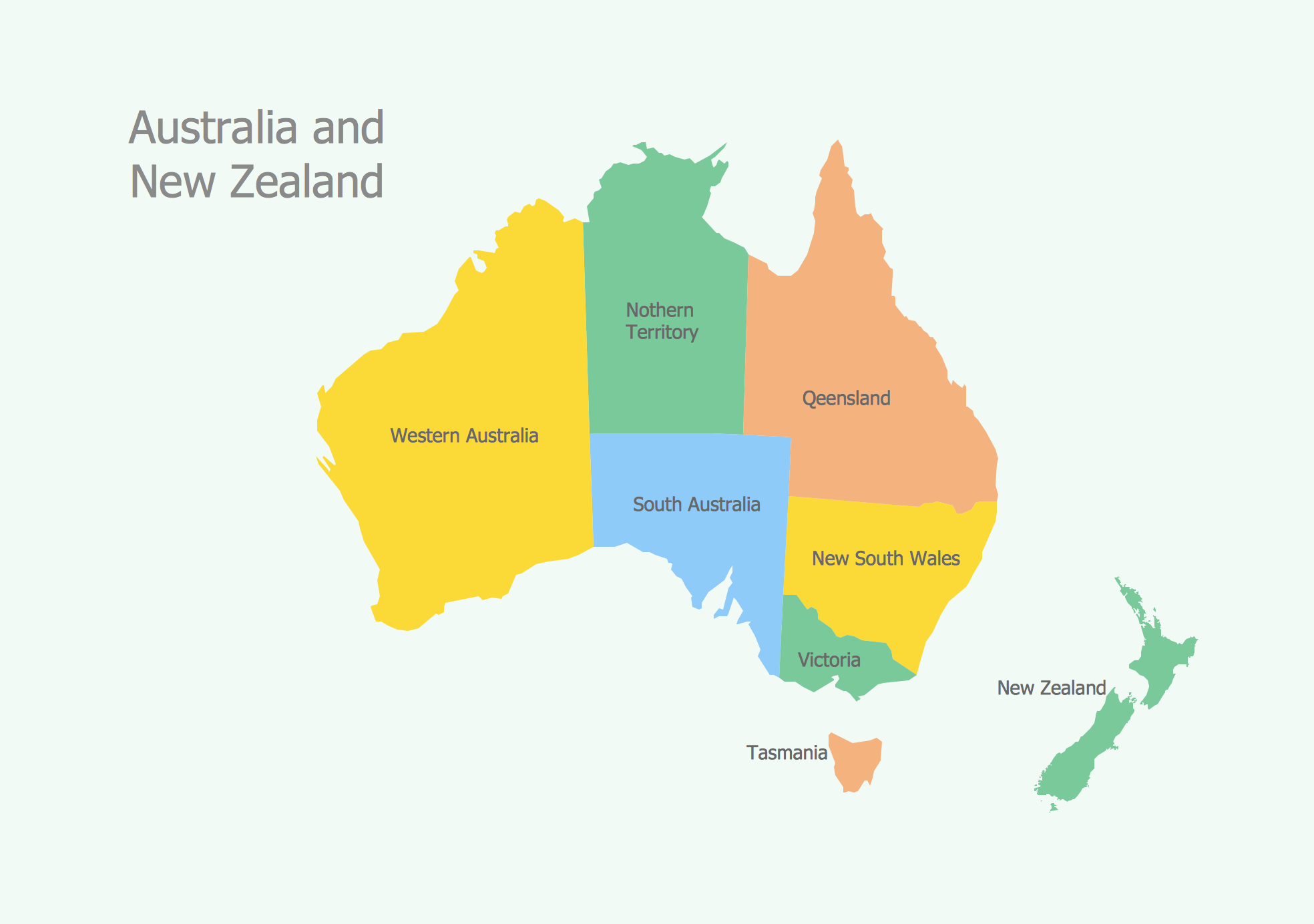 Geo Map - Australia and New-Zealand