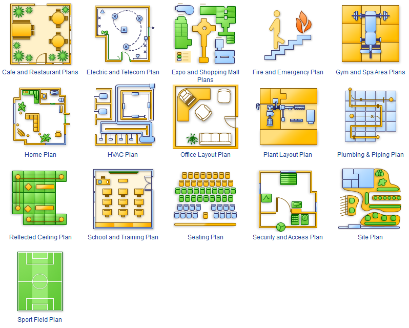 Examples of building commercial plans, engineering networks and layouts