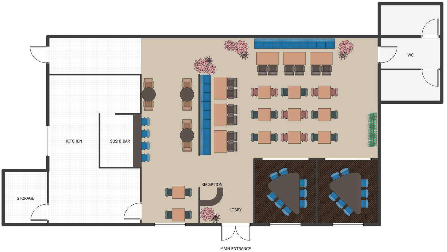 Restaurant Floor Plans Software Design Your Restaurant And Layouts In Minutes With Conceptdraw Draw Restaurant Floor Plan