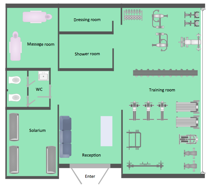 Gym and spa area plans gym floor plan gym layout plan for Blueprint design software