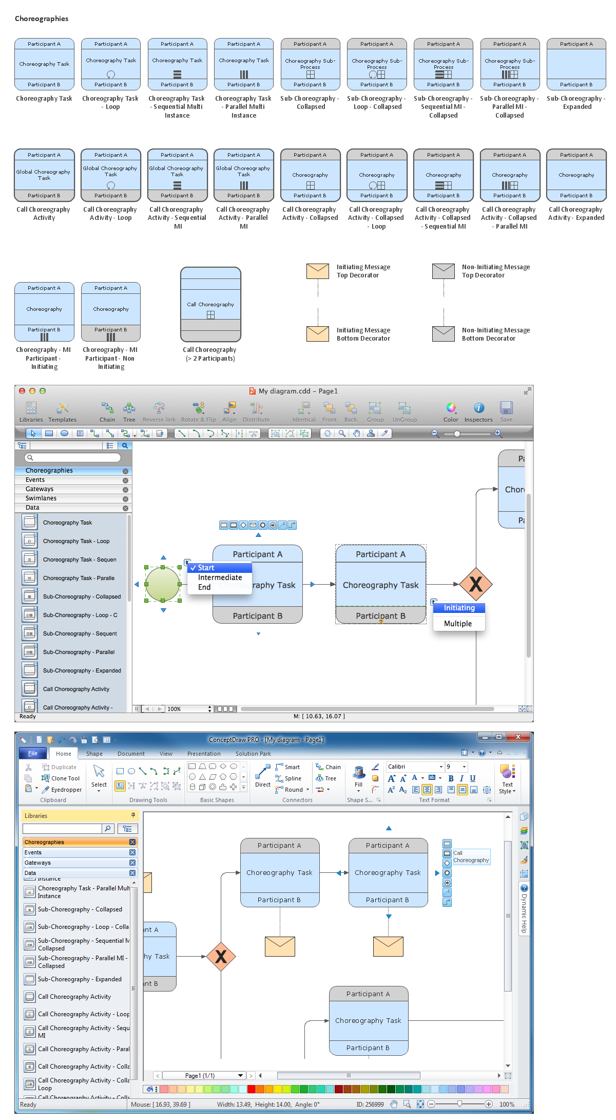 Diagramming software for Business Process — Design Elements: Choreographies (Win, Mac)