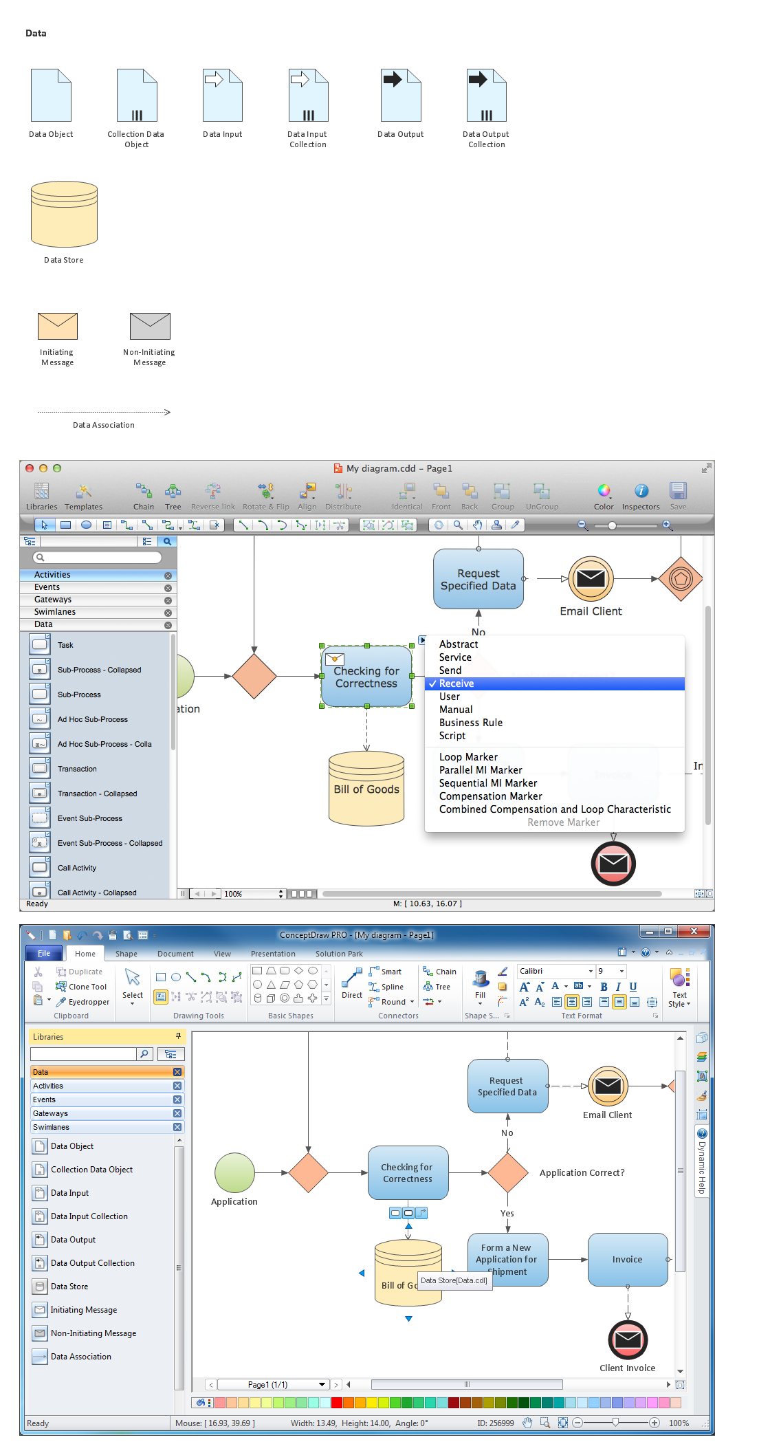Diagramming Software for Business Process — Design Elements: Data (Win, Mac)