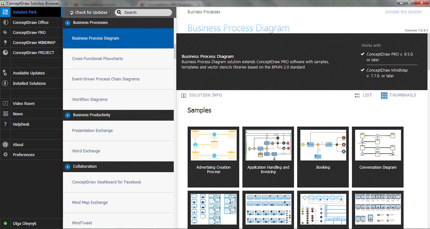 Business Process Diagram Solution in ConceptDraw Solution Browser