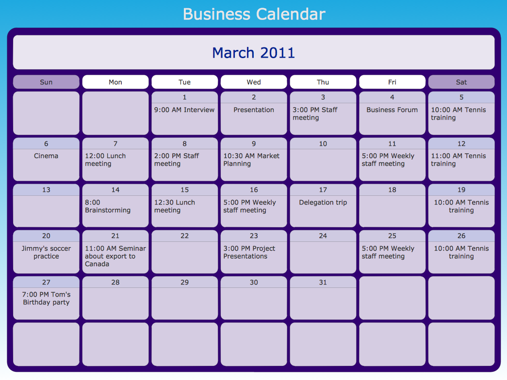 Business calendar example