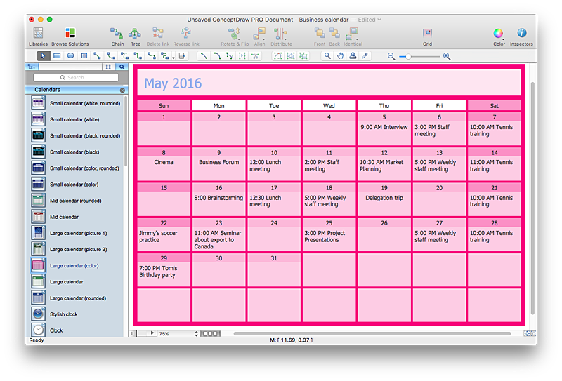 Business calendar for Building site plan software