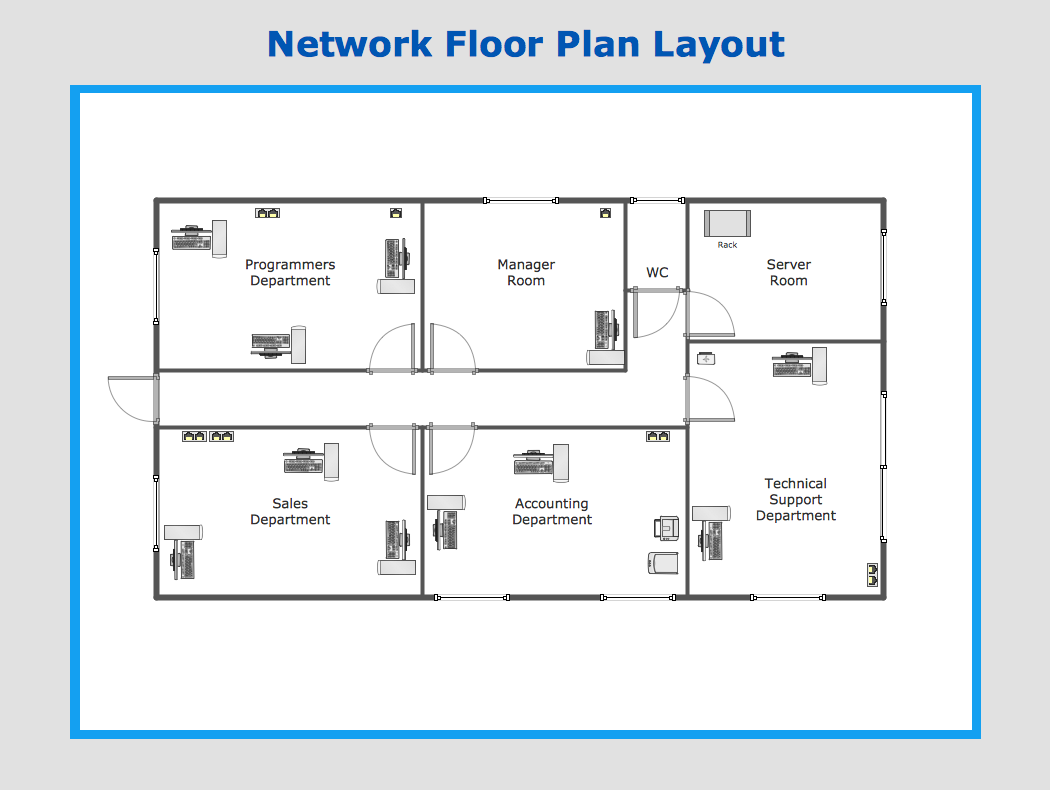 How to draw a computer network diagrams network layout for Area of a floor plan