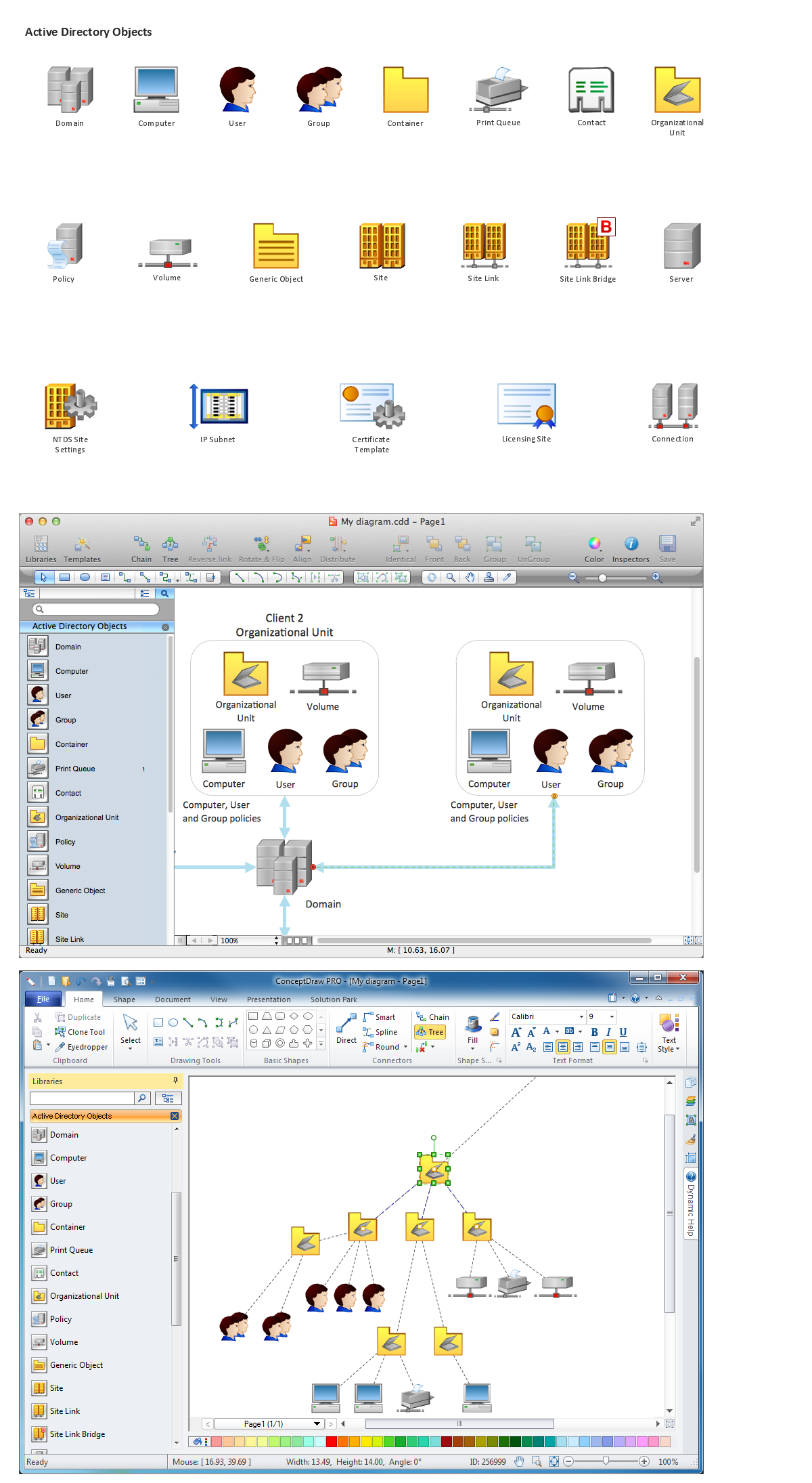 Network Diagramming Software, Design Elements - Active Directory (Win Mac)