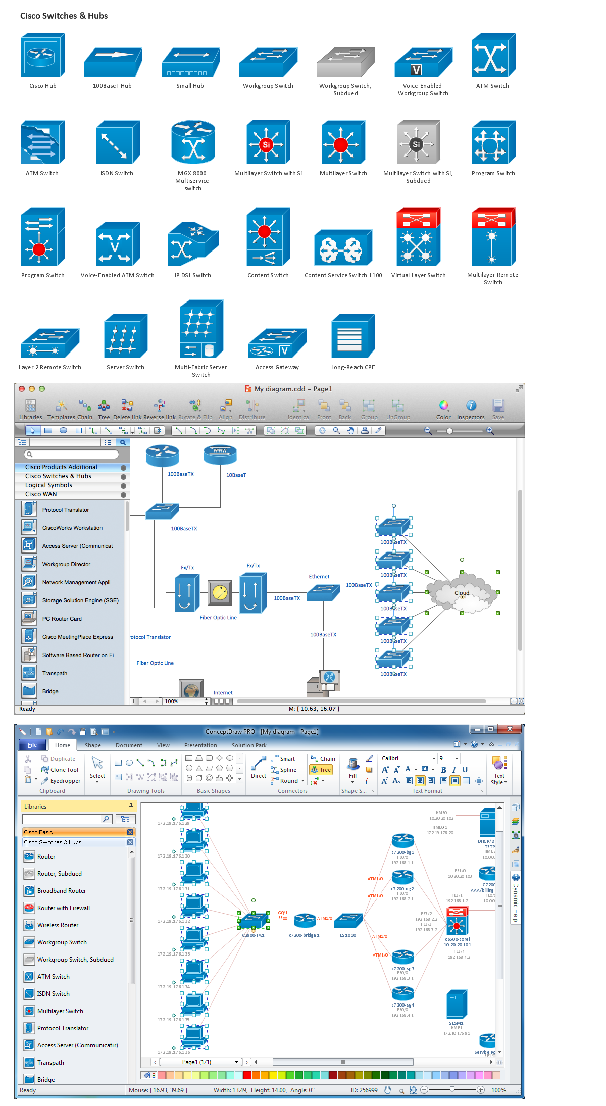 Network Diagramming Software, Design Elements - Cisco (Win Mac)