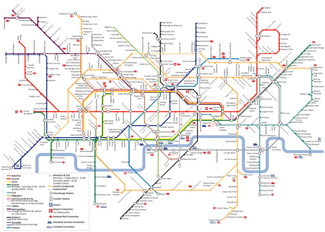 ConceptDraw sample of Metro Map style infographics tube map of London - how to draw metro maps using solution Metro Map