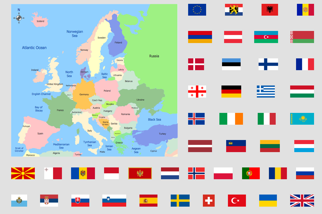 Political Map Of Europe With Countries.World Continents Map