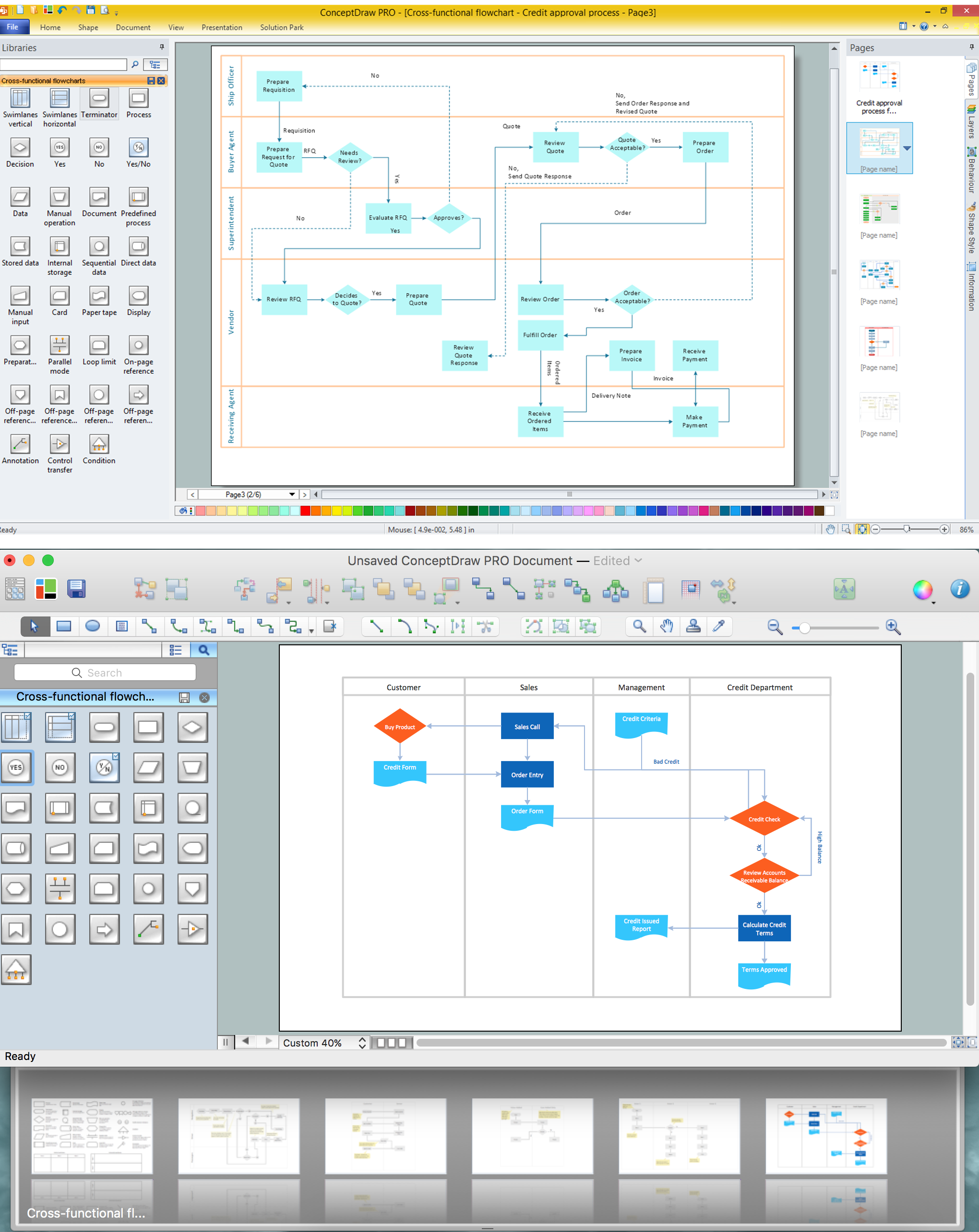 cross-functional flowchart - to draw cross functional process maps, Powerpoint templates