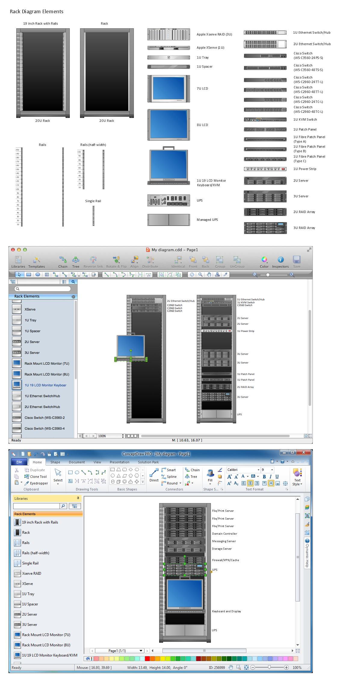 Network Diagramming Tools Design Element for Rack Diagram