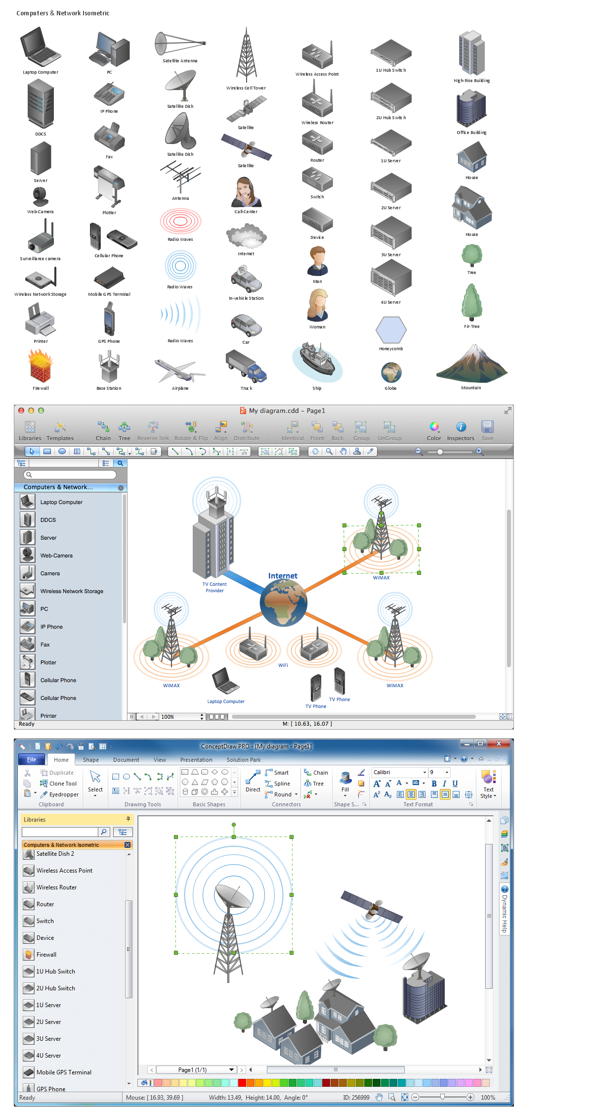 Network diagramming tools design element for computer and network network diagramming software design elements computer and network windows macintosh ccuart Images
