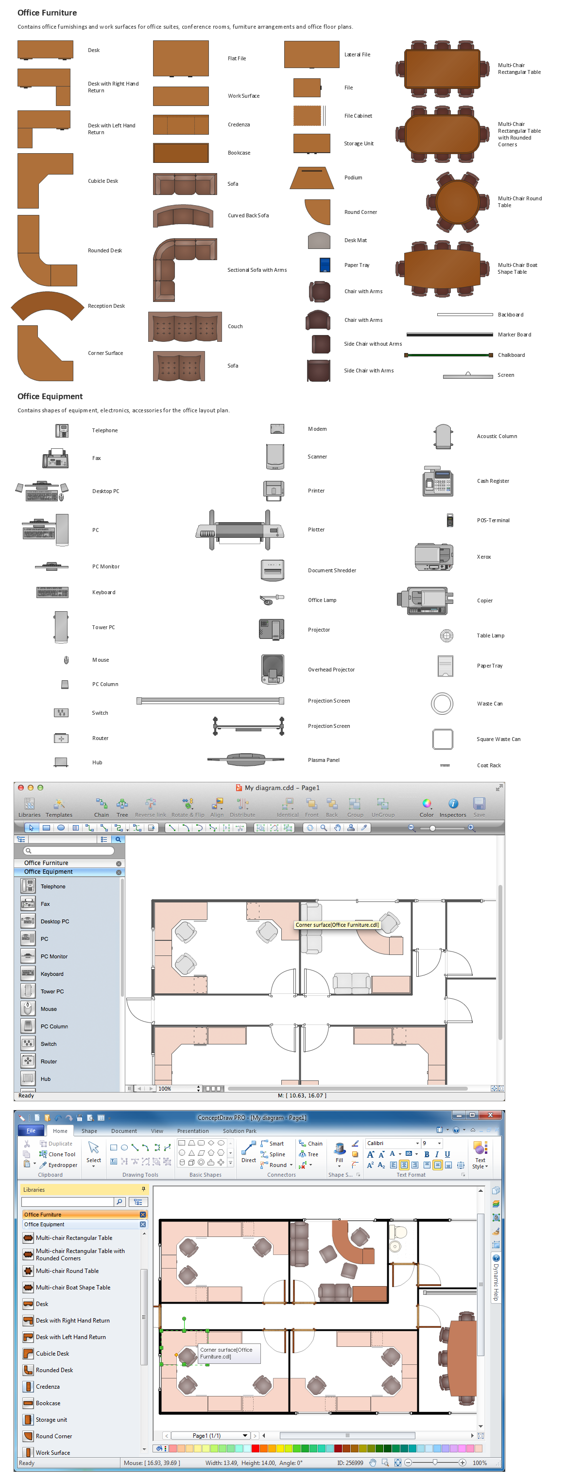 Building Drawing Tools.  Interior Design. Design Elements — Office Layout Plan