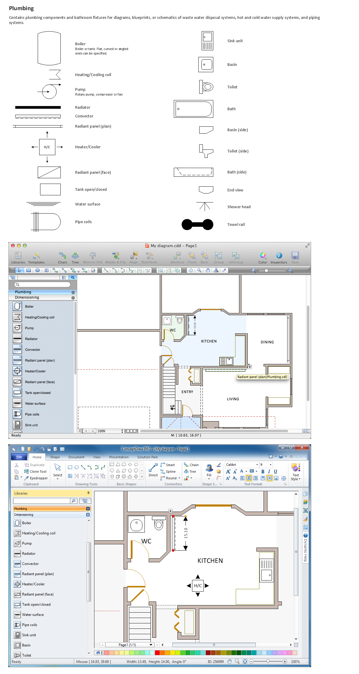 Building drawing tools design element plumbing for Building construction design software