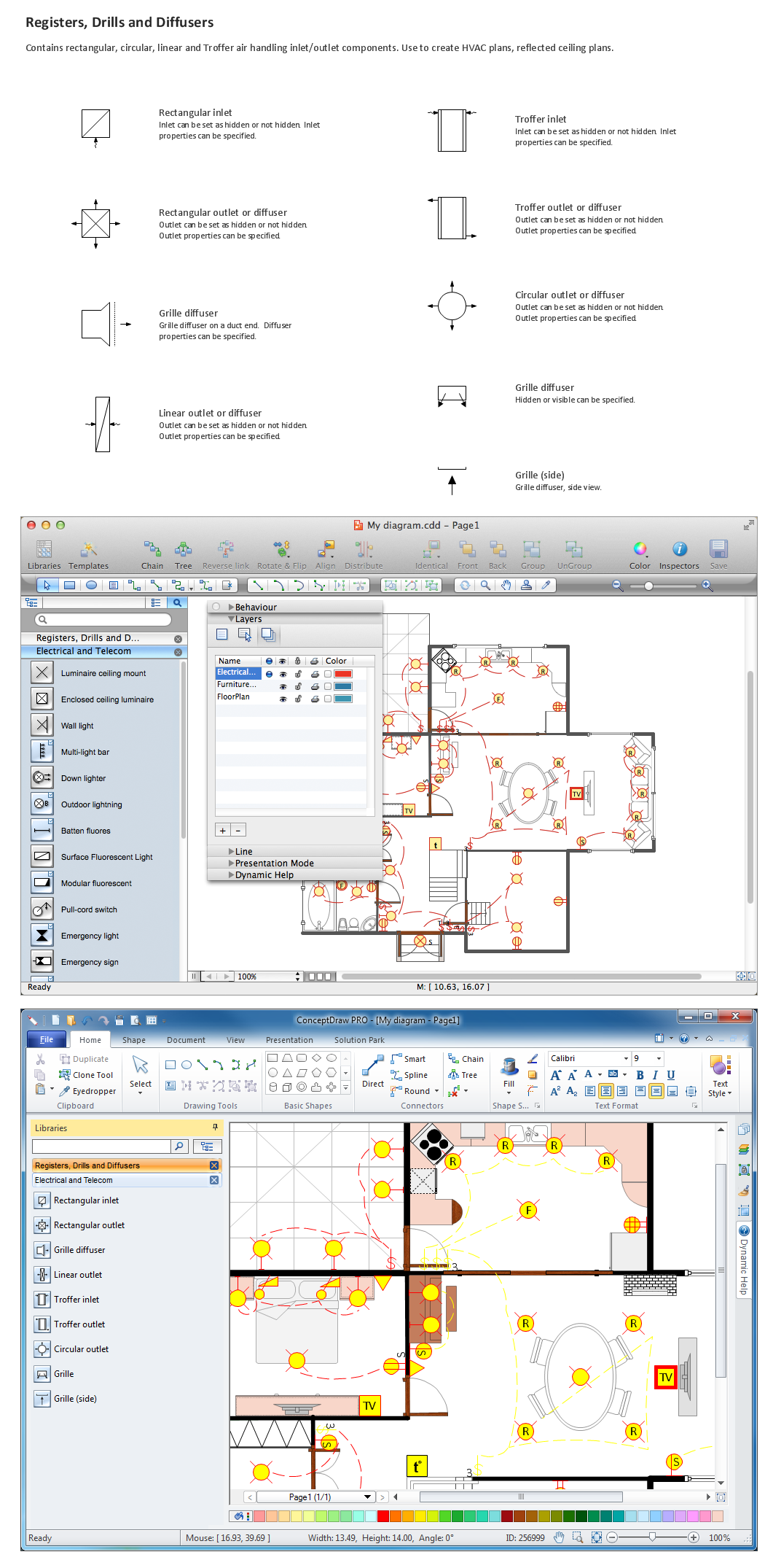 Hvac Plans Blueprint Software Home Electrical Plan How To Read Hvac Design Blueprints