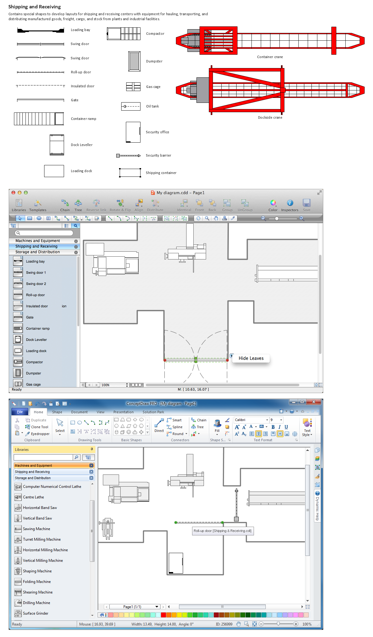 Building Drawing Software.  Design Elements — Shipping and Receiving