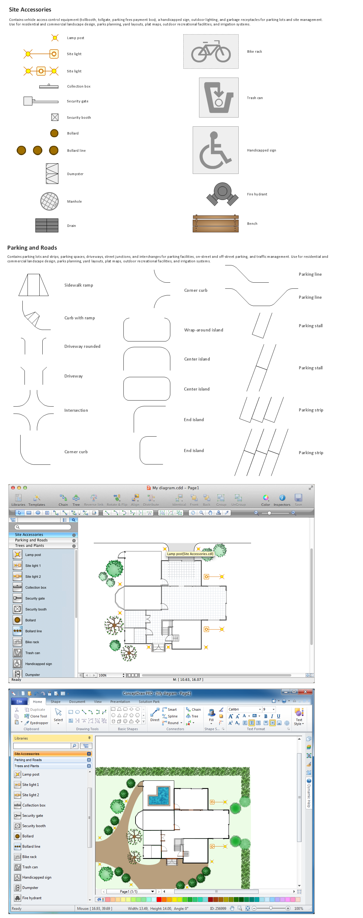 Building drawing tools design element site plan for Property site plan software