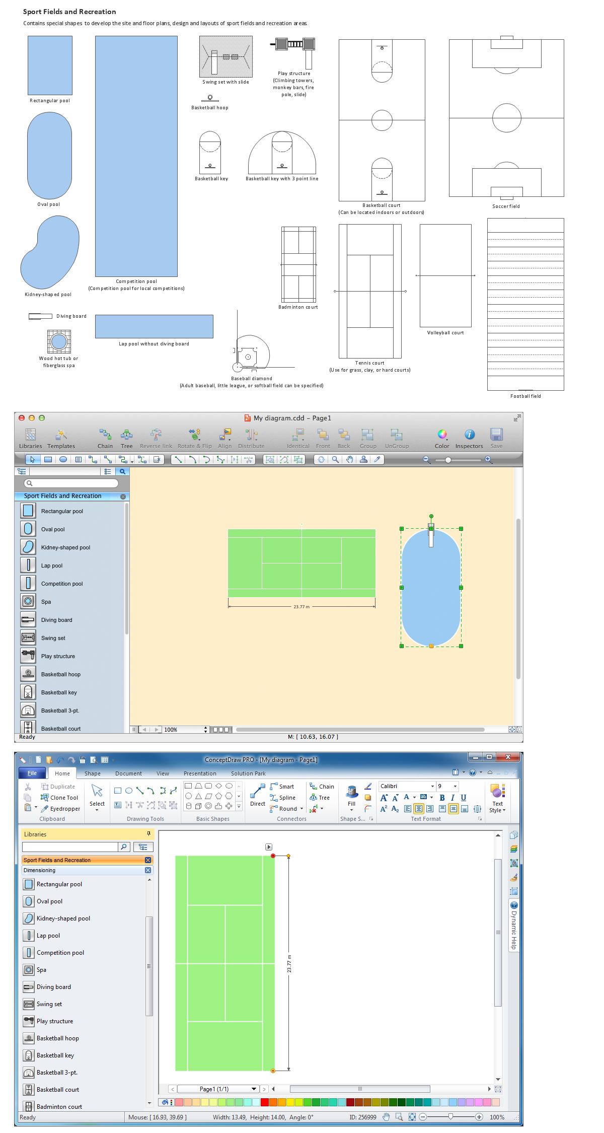 Building drawing tools design element sport fields Building design software