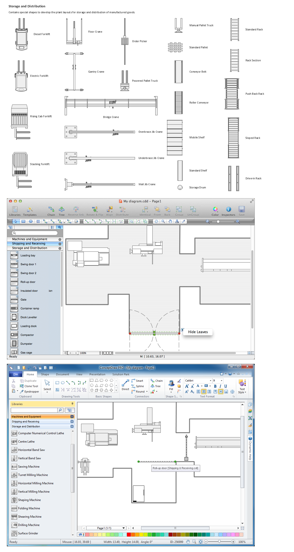 Building drawing software. Design elements of storage and distribution plant layout plans.
