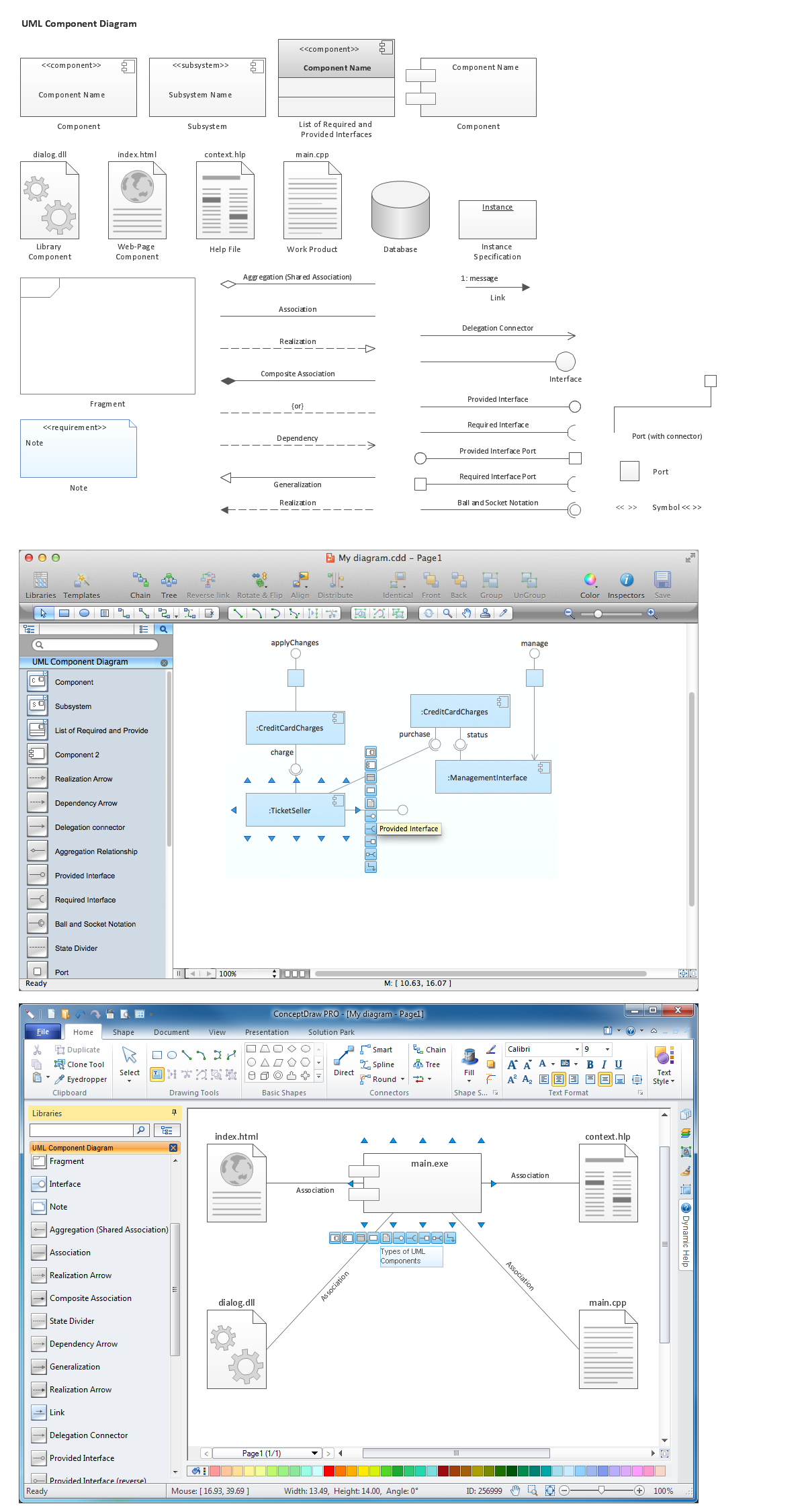 Diagramming Software for  Design UML Component  Diagrams (mac, win)