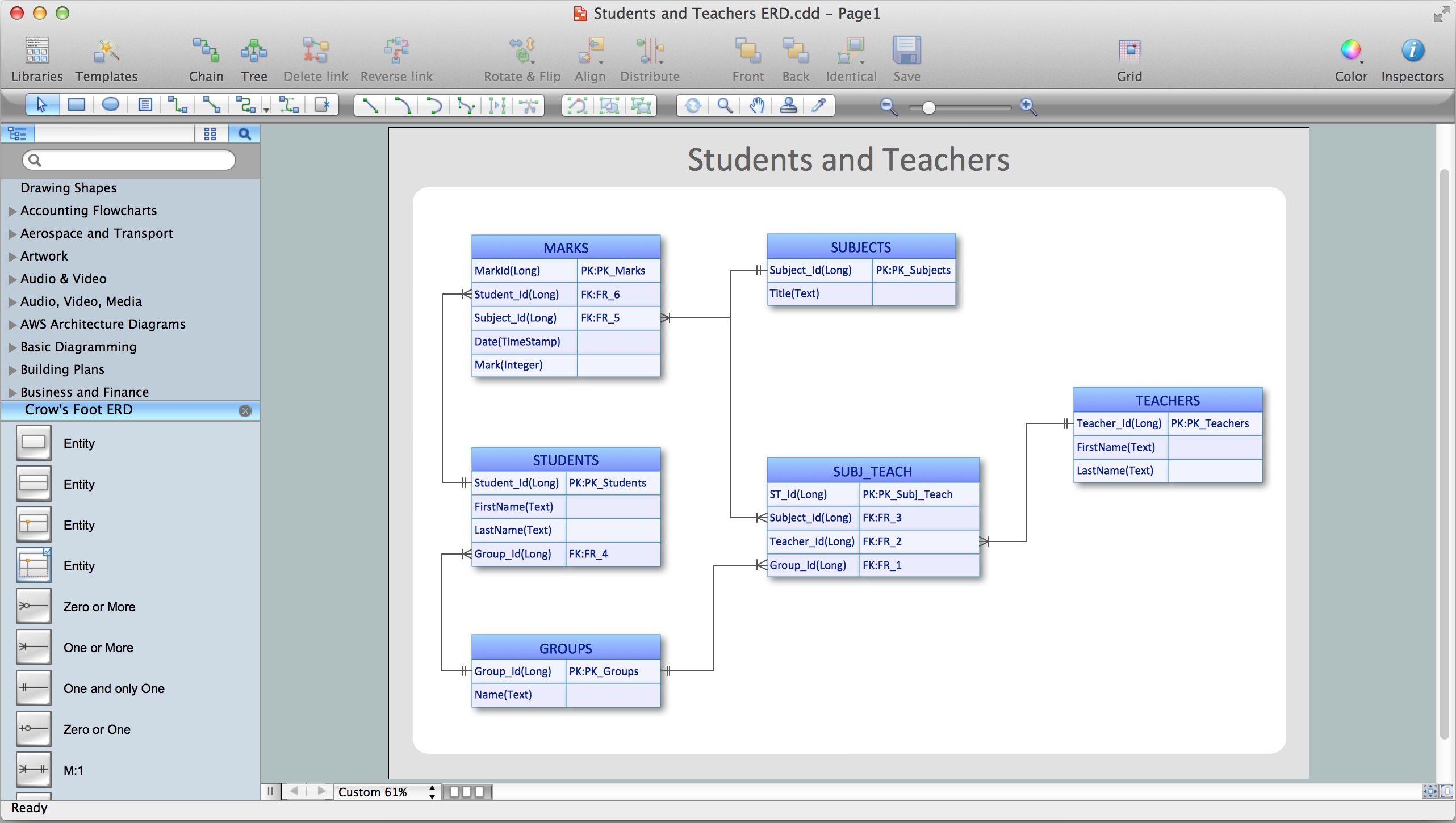 Entity relationship diagram erd with conceptdraw pro entity entity relationship software ccuart Choice Image