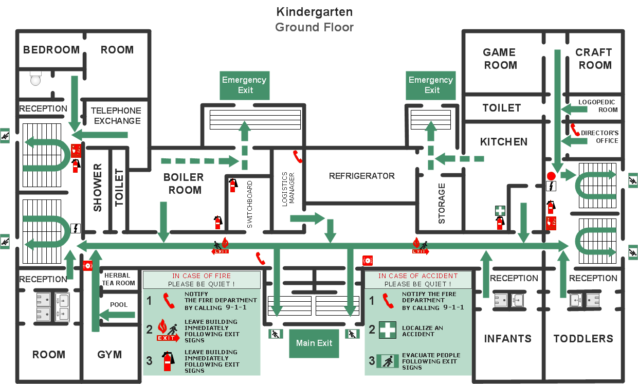 Restaurant Floor Plans Templates - Fire evacuation plan template