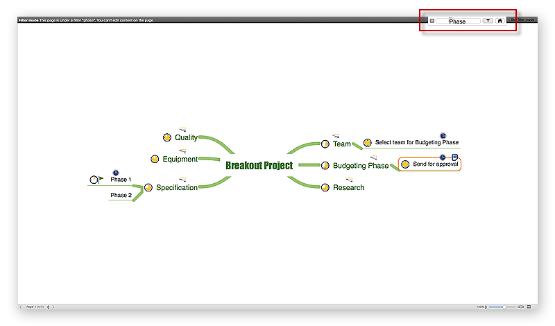 ConceptDraw MINDMAP Filter mode can be activated in the full-screen mode