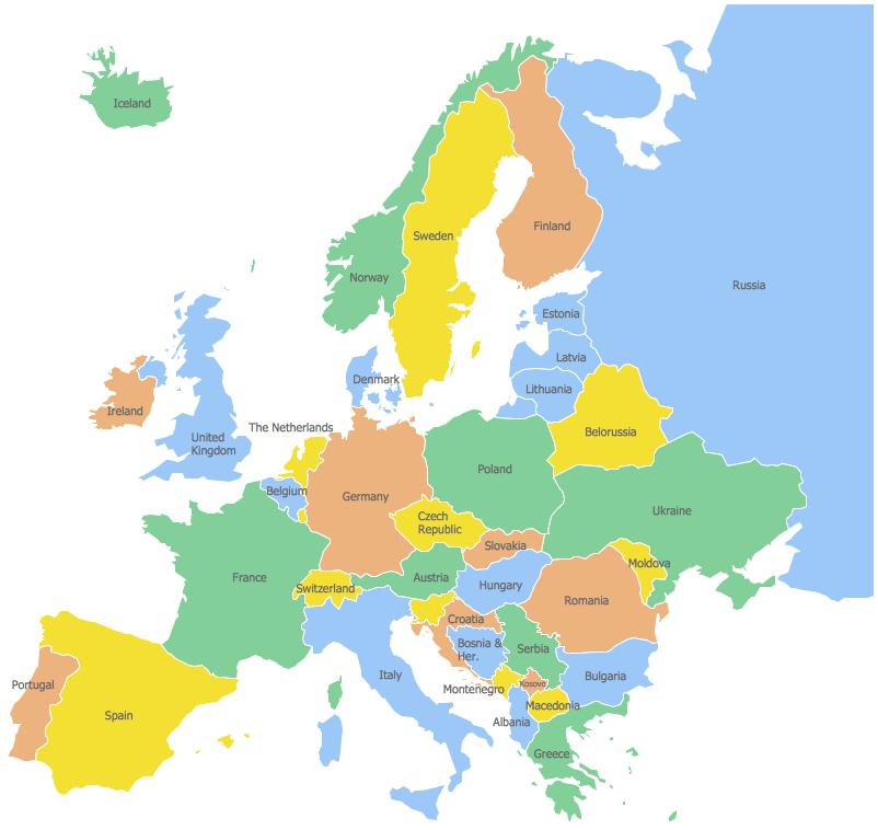Geo Map Europe Russia