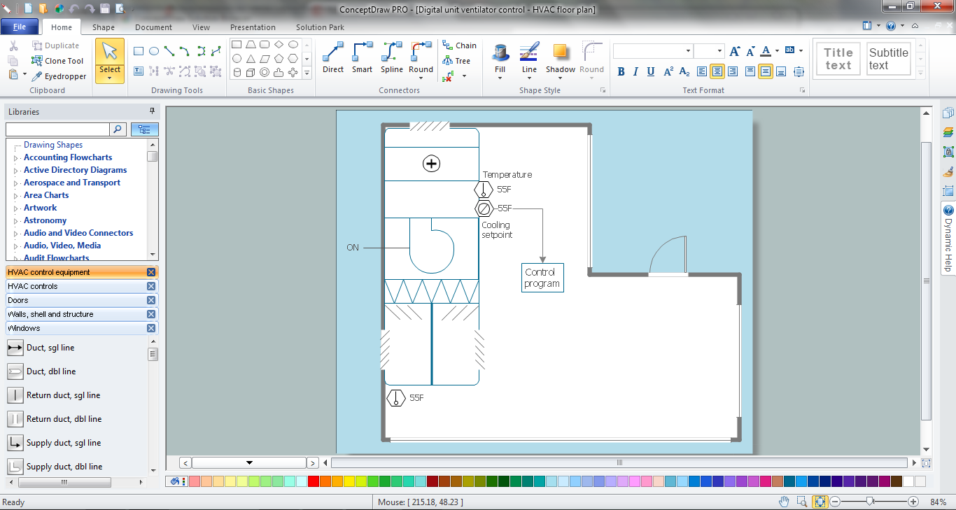 Hvac plans how to create a hvac plan air handler hvac plan hvac marketing plan get my conceptdraw software malvernweather Image collections