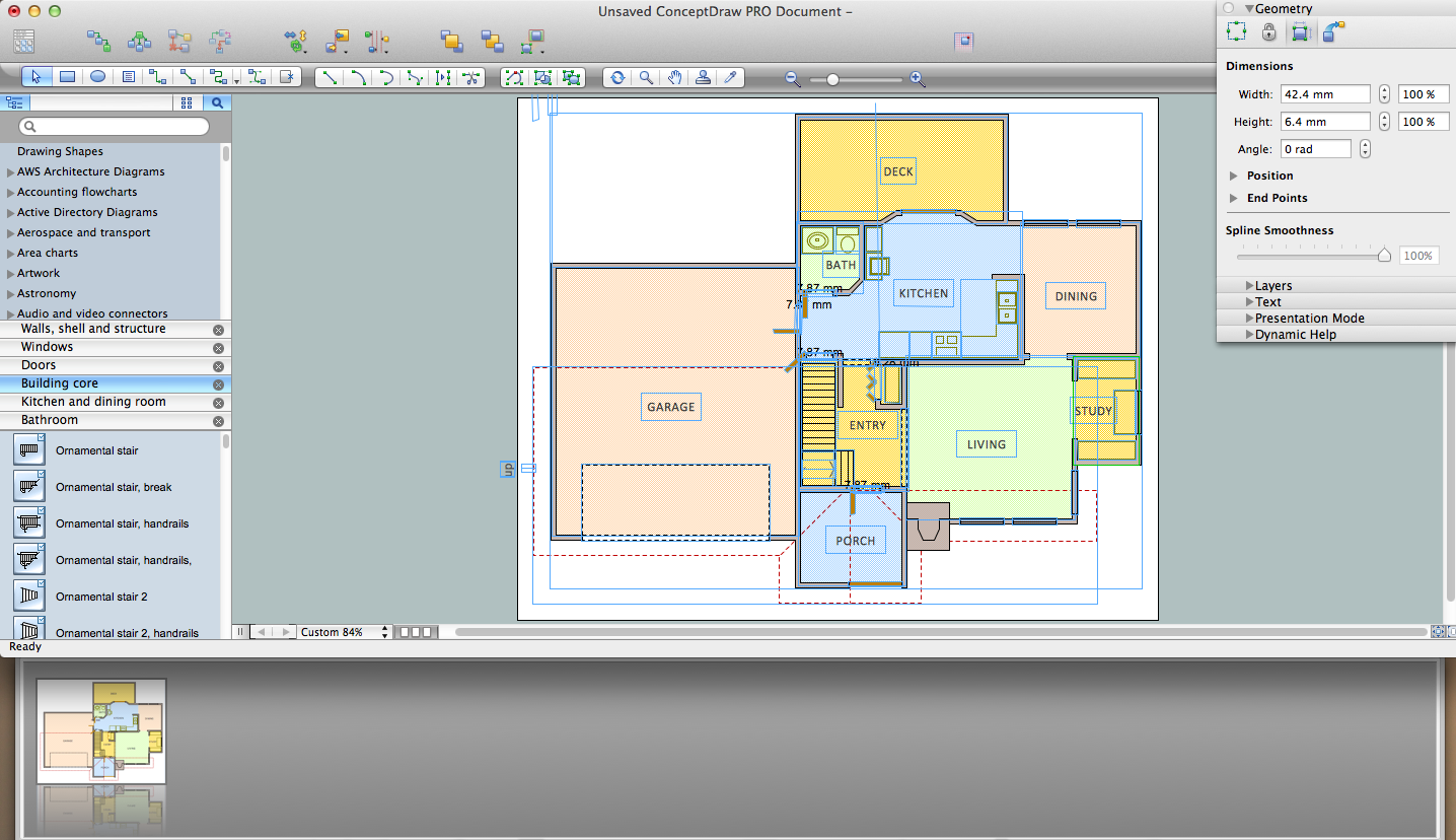 Create Floor Plans Easily With Conceptdraw Pro Office Layout Cafe Floor Plan Design Software