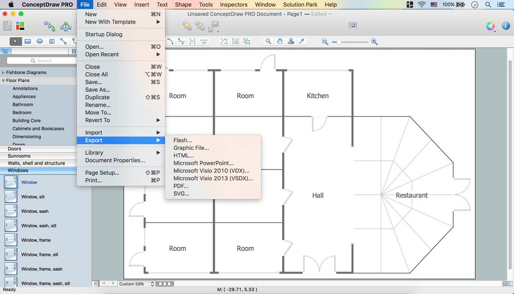 Interior design registers drills and diffusers design element Floorplan software