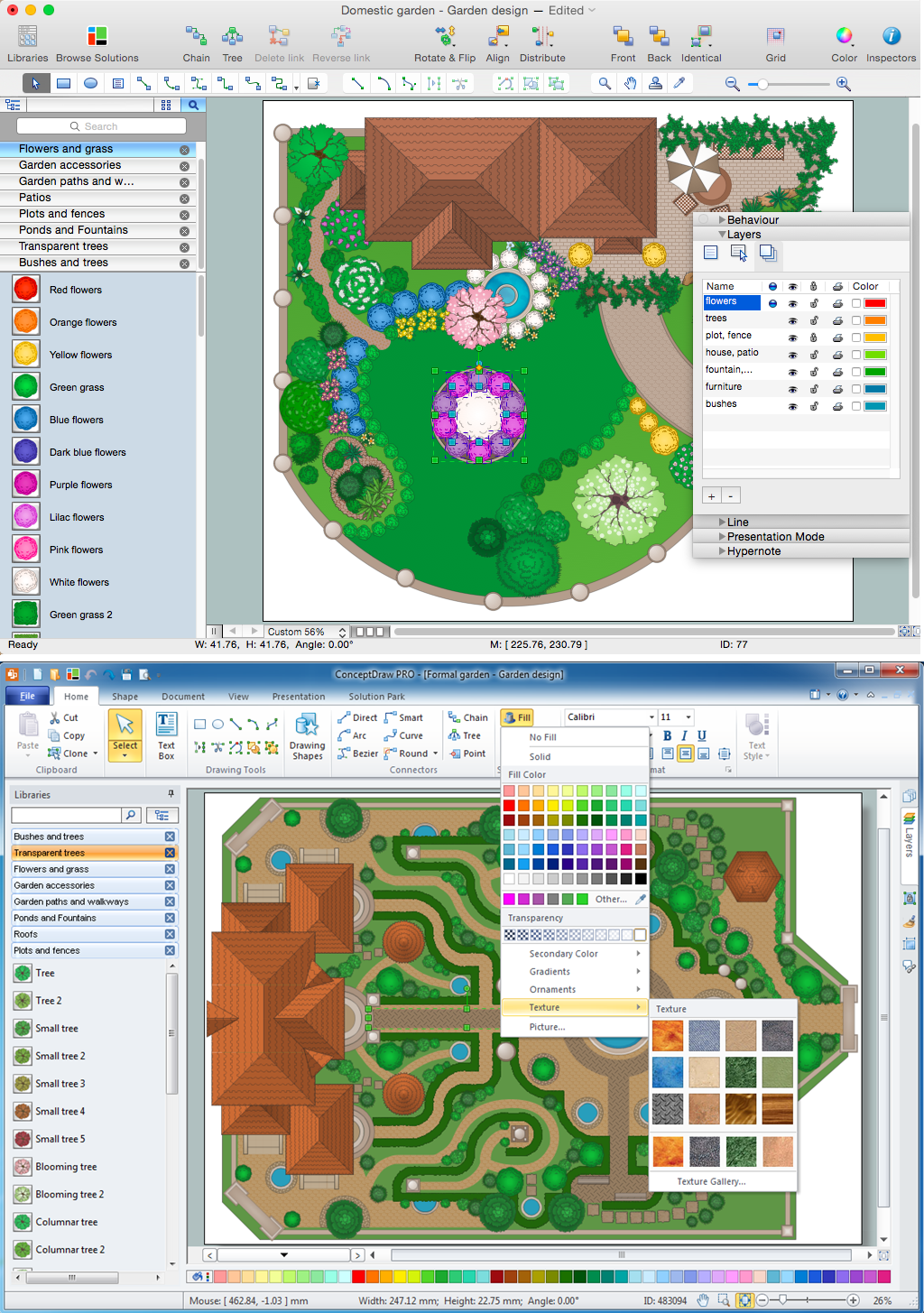 Landscape design software draw landscape deck and patio for Landscape design computer programs