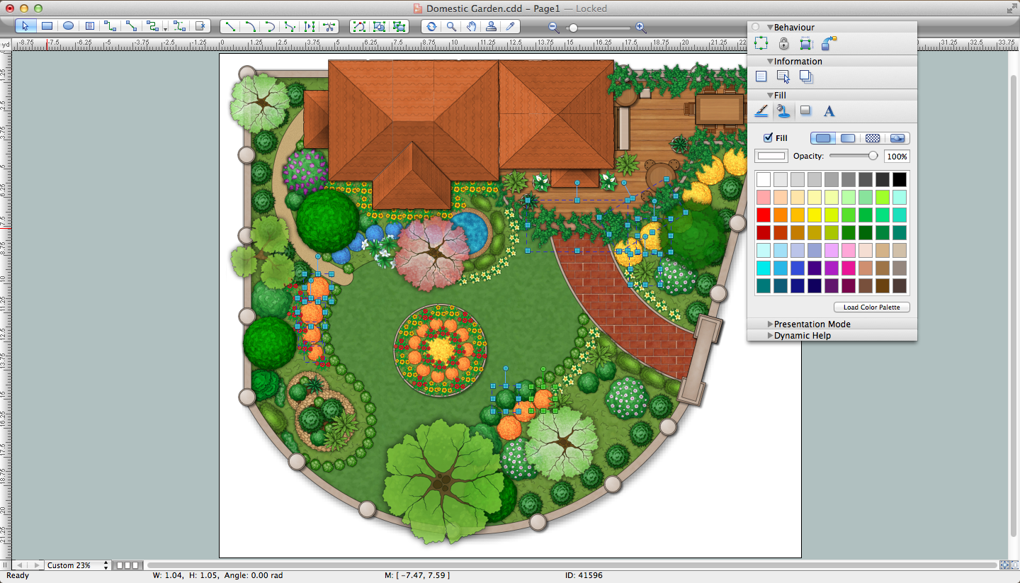 Landscape design software draw landscape deck and patio for Garden landscape drawing