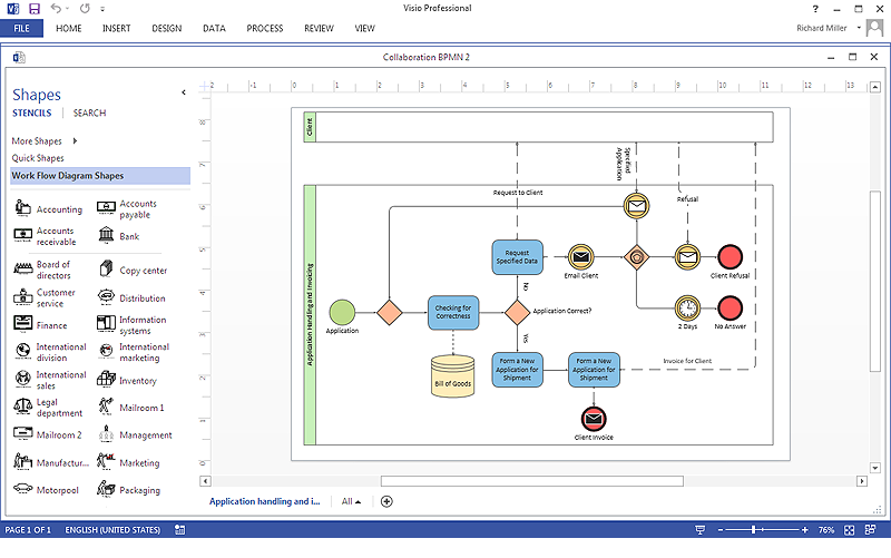 how to create a ms visio business process diagram using