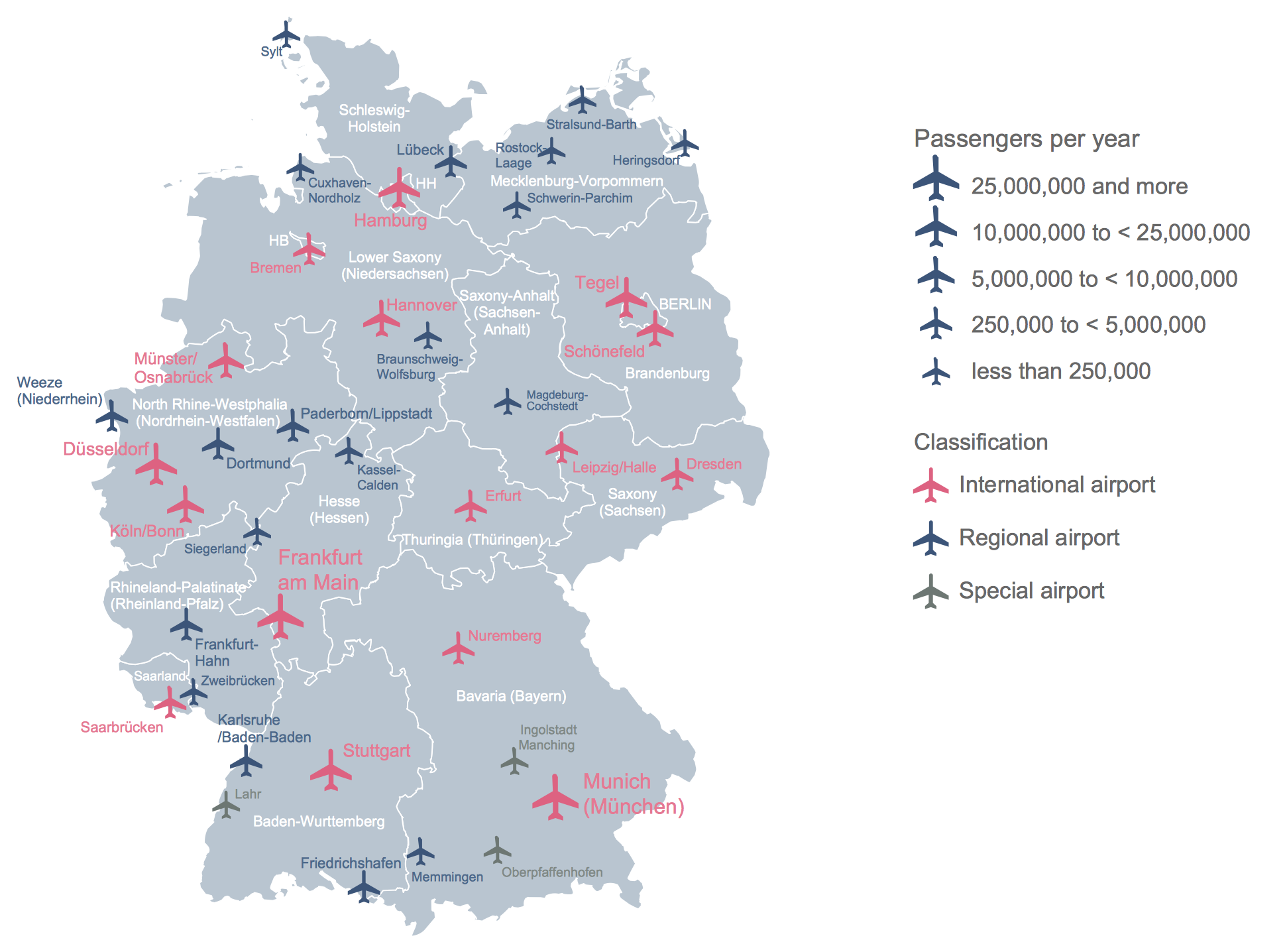 Of Germany - Germany map airports