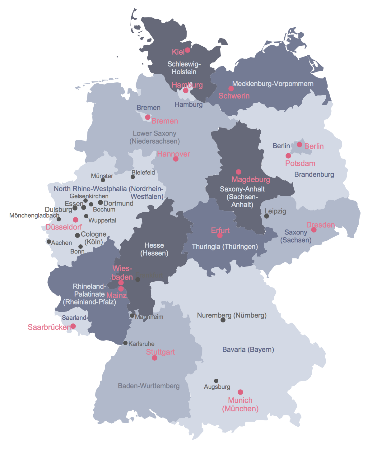 Of Germany - Germany map with major cities
