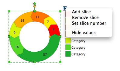 Percentage arrow ring chart object with action menu