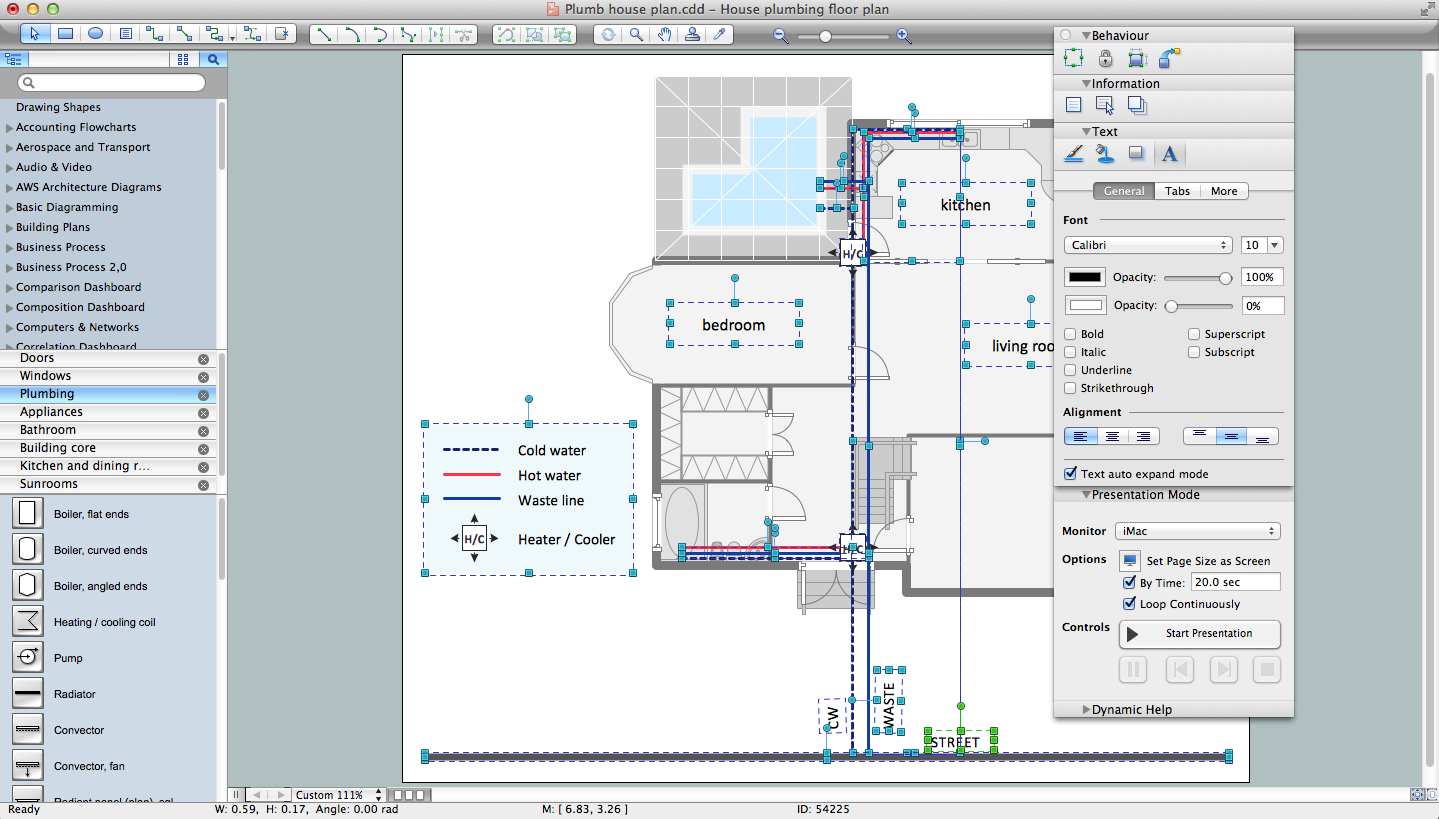 Building drawing software for designing plumbing piping Building drawing software