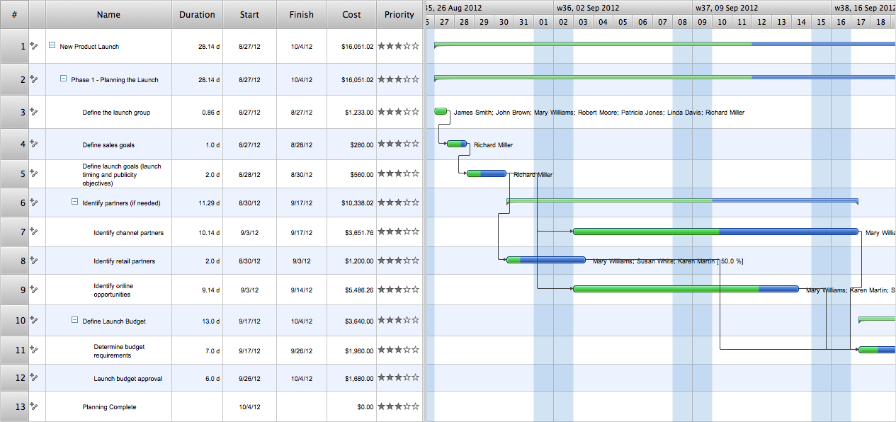 Project — Gantt Chart: New Product Launch