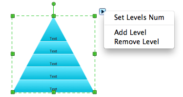 Pyramid diagram object with action menu