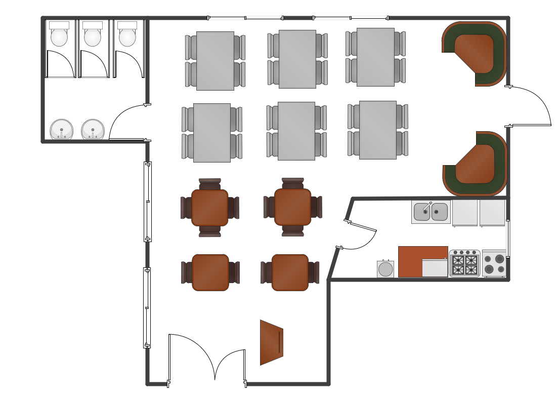 Cafe and restaurant floor plans plan