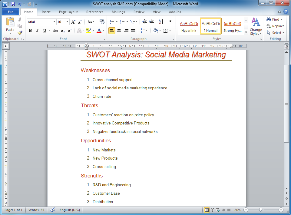 How to Make SWOT Analysis in a Word Document *