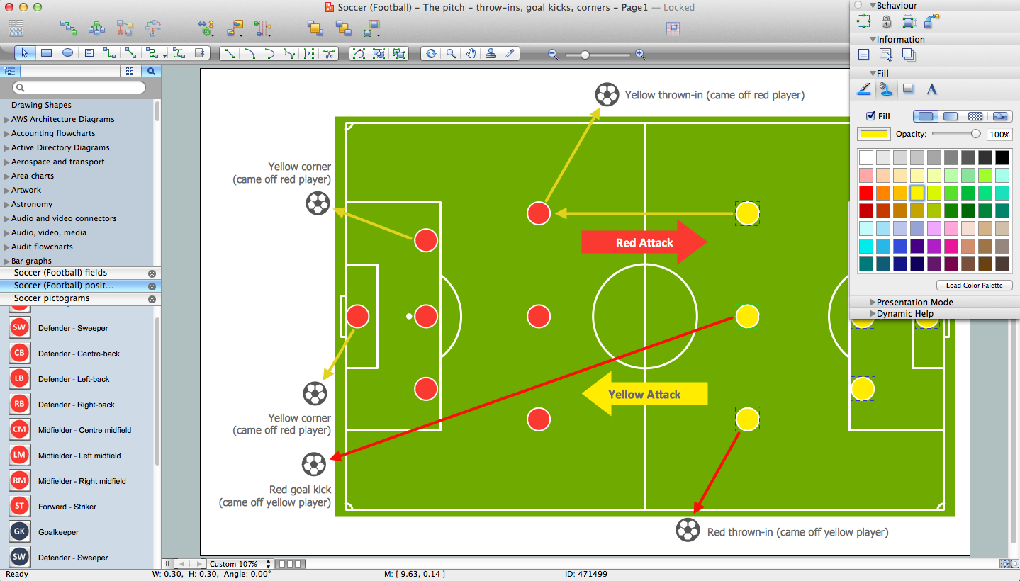 Drawing diagrams in pages - Soccer Football Diagram Software