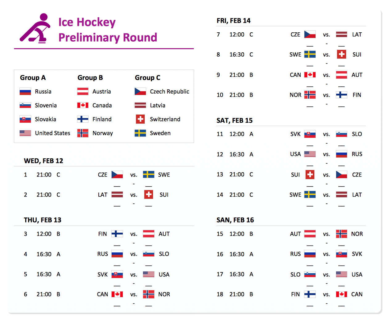 Sochi 2014 Olympics  - Men's hockey tournament schedule
