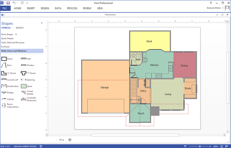 How to create a ms visio floor plan using conceptdraw pro for Construction site plan software