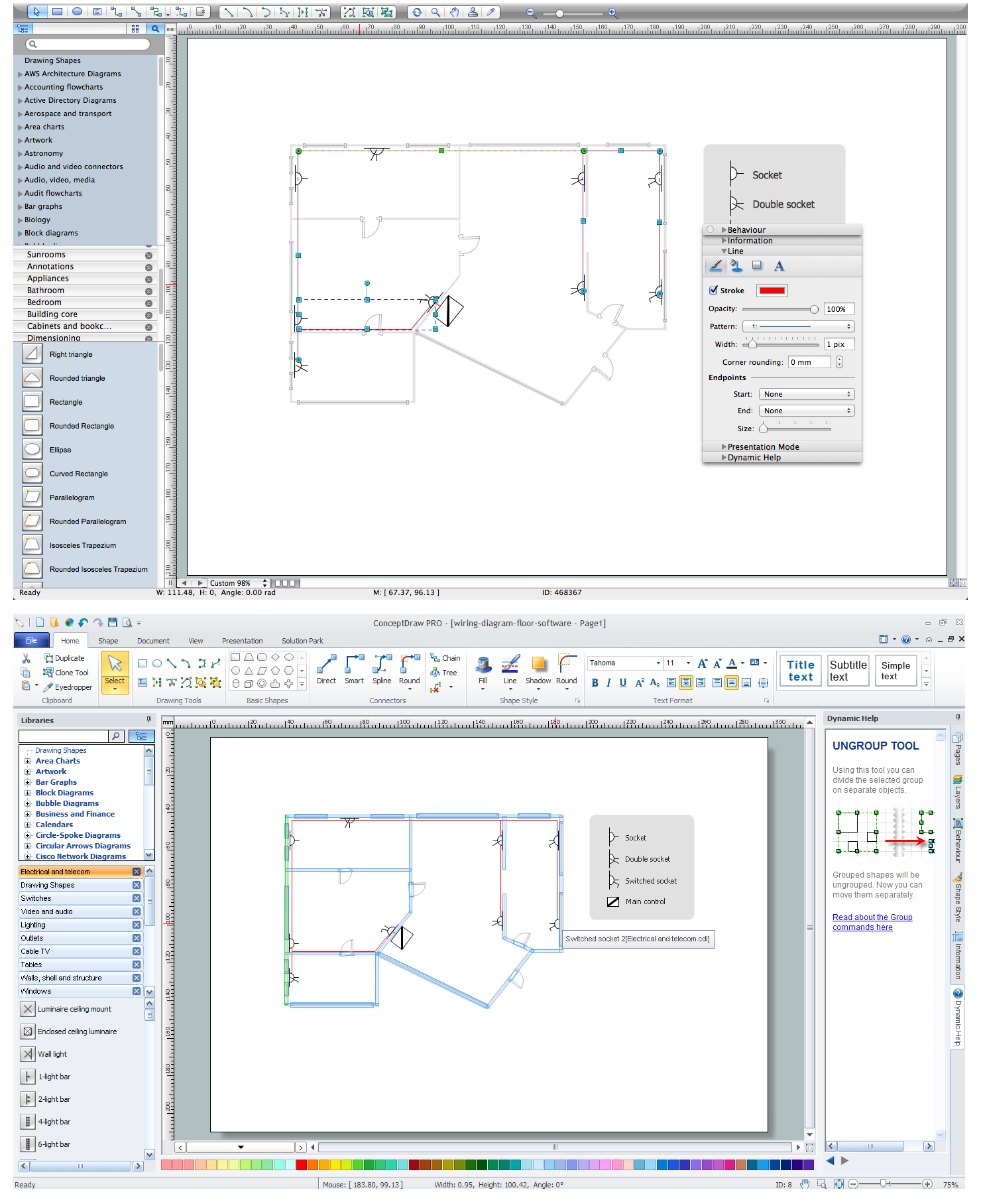 House electrical plan software draw house electrical pla for Office layout software
